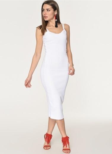 10c592a19d4f7 Loves You Askılı Viskon Elastan Triko Elbise Beyaz ...